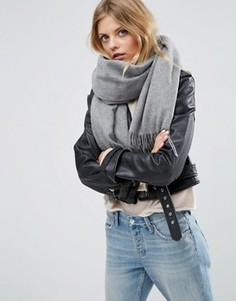 Oversize-шарф из овечьей шерсти с кисточками ASOS - Серый