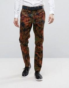 Строгие зауженные брюки с камуфляжным принтом ASOS - Коричневый