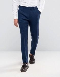 Ярко-синие узкие брюки из 100% шерсти в елочку ASOS - Темно-синий
