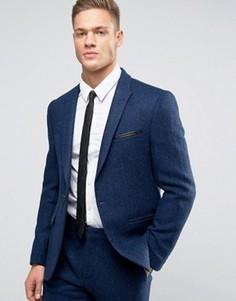 Ярко-синий узкий пиджак из 100% шерсти в елочку ASOS - Темно-синий