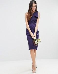 Структурированное платье на одно плечо с бантом ASOS WEDDING - Темно-синий