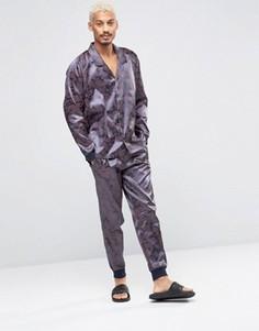 Атласные брюки с принтом пейсли ASOS - Темно-синий