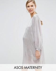 Платье мини для беременных в стиле oversize ASOS Maternity - Серый