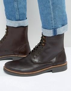 Коричневые кожаные ботинки на шнуровке Frank Wright - Коричневый