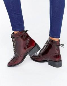 Кожаные ботинки-броги на шнуровке ASOS AMAR - Коричневый