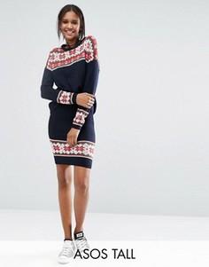 Новогодняя вязаная юбка с узором Фэйр-Айл ASOS TALL - Мульти
