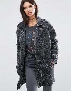 Длинная байкерская куртка из фактурной шерсти Diesel - Черный