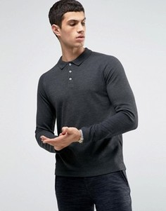 Поло с длинными рукавами реглан Selected Homme - Серый