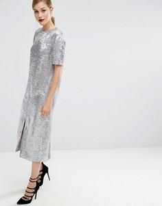 Платье-футболка миди с переливающейся отделкой ASOS - Серебряный