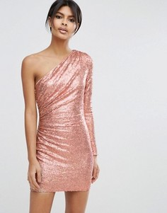 Платье мини на одно плечо с переливающимися пайетками ASOS - Розовый
