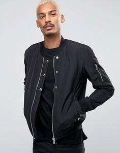 Черная стеганая нейлоновая куртка-пилот Esprit - Черный