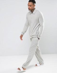 Прямые пижамные брюки из фактурной ткани с начесом ASOS - Серый