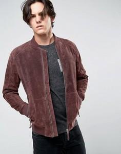 Замшевая бордовая куртка-пилот Esprit - Красный