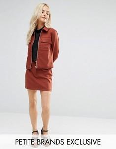 Комбинируемая мини‑юбка с карманами Fashion Union Petite - Коричневый