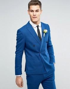 Синий фактурный двубортный пиджак скинни ASOS WEDDING - Синий