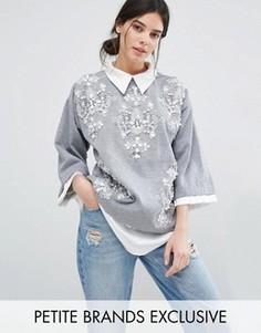Джемпер с тканой рубашкой и отделкой Starry Eyed Petite - Серый