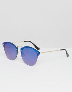 Солнцезащитные очки в стиле ретро с синими стеклами ASOS - Черный