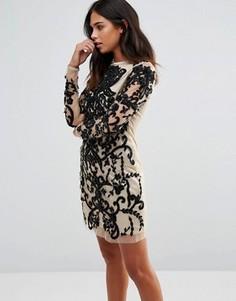 Декорированное облегающее платье с длинными рукавами A Star Is Born - Черный