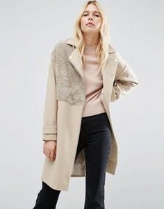 Пальто в байкерском стиле с отделкой борг ASOS - Stone