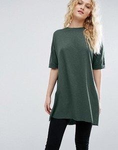 Удлиненная oversize-футболка из фактурного трикотажа с разрезами по бокам ASOS - Зеленый