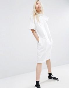 Платье-рубашка с перекрестом на горловине ASOS WHITE - Белый