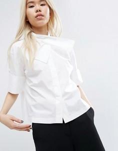 Рубашка с перекрестной отделкой на вороте ASOS WHITE - Белый