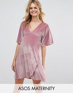Бархатное платье мини для беременных с рукавами-кимоно ASOS Maternity - Розовый