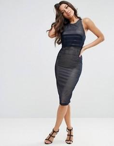Платье миди с кроп-топом ASOS - Темно-синий