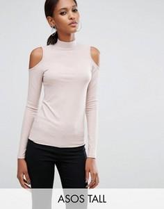 Топ в рубчик с вырезами на плечах и высокой горловиной ASOS TALL - Розовый
