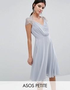 Платье миди с кружевной отделкой ASOS PETITE Kate - Серый