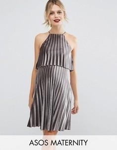 Плиссированное бархатное платье мини для беременных с кроп-топом ASOS Maternity - Серый