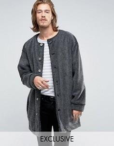 Пальто-кокон из материала борг без воротника Reclaimed Vintage - Черный