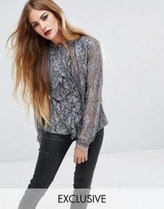 Кружевная рубашка в винтажном стиле с оборками Religion - Серый