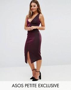 Платье-футляр миди цвета металлик с вырезом ASOS PETITE - Фиолетовый
