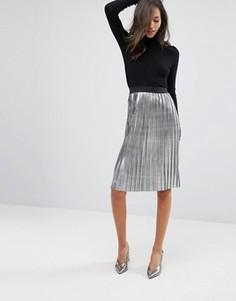Плиссированная юбка миди цвета металлик Miss Selfridge - Серебряный