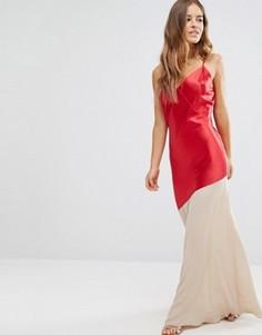 Платье макси с контрастной вставкой John Zack Petite - Мульти
