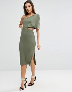 Облегающее платье миди на одно плечо ASOS - Зеленый