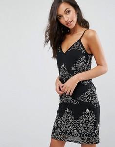Черное платье на бретельках с декоративной отделкой Miss Selfridge - Черный