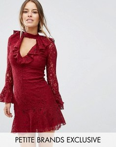 Кружевное короткое приталенное платье с оборкой на кромке John Zack Petite - Красный