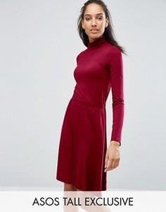 Платье мини с высокой горловиной и эластичной талией ASOS TALL - Красный