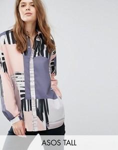 Oversize-рубашка с абстрактным принтом ASOS TALL - Мульти