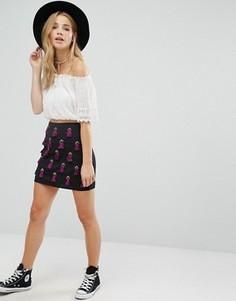 Мини-юбка с декоративной отделкой Glamorous - Черный
