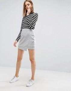Трикотажная мини-юбка с асимметричным краем ASOS - Серый