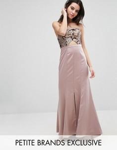 Платье-бандо макси с вырезом на лифе True Decadence Petite - Золотой