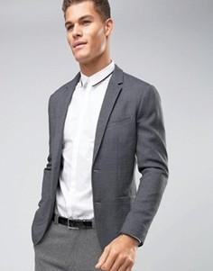 Узкий трикотажный блейзер Jack & Jones Premium - Серый