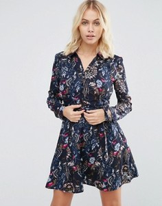 Платье-рубашка с цветочным принтом Yumi - Темно-синий