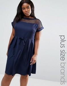 Платье с сетчатой вставкой сверху Praslin Plus - Темно-синий