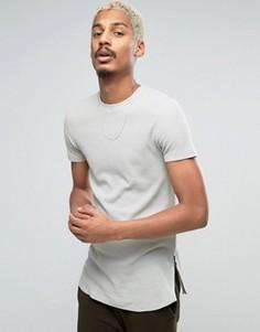 Длинная футболка из вафельного трикотажа с молниями по бокам ASOS - Бежевый