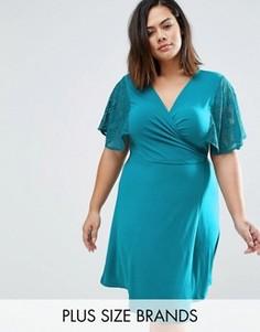 Платье с запахом и кружевными рукавами-кимоно Praslin Plus - Синий