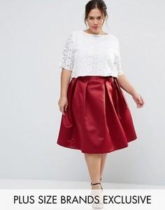 Сатиновая юбка миди с бантиком Closet Plus Duchess - Красный